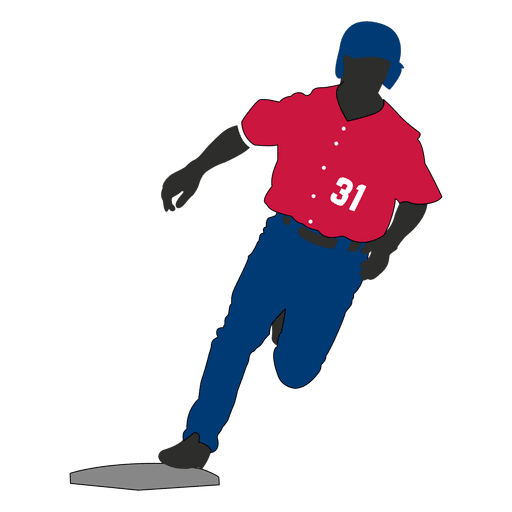 Baseball player running silhouette