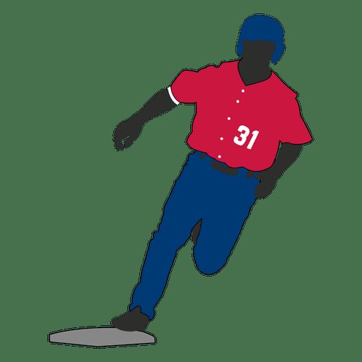 Jugador de béisbol corriendo silueta
