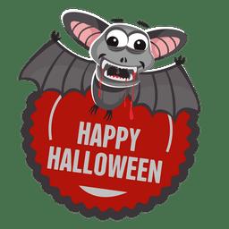 Etiqueta de halloween de murciélago
