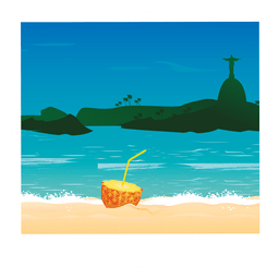 Beach cocktail image cartoon