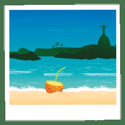 Praia dos desenhos animados imagem Cocktail