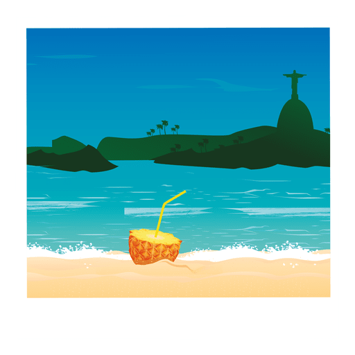 Dibujos animados de imagen de c?ctel de playa