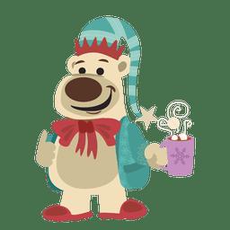 Bear with hot chocolate