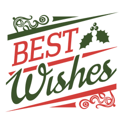 Best wishes christmas badge green and red