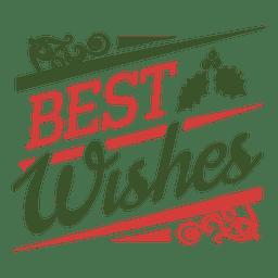 Los mejores deseos navidad insignia verde y rojo.