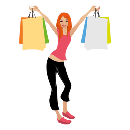 Chica rubia de compras