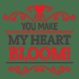 Bloom heart valentine label