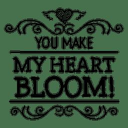 Blüte Herz Valentines Label
