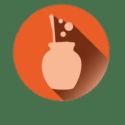 Boiling pot round icon