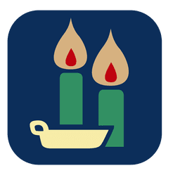 Burning candles square icon