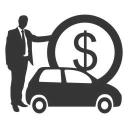 Businessman car silhouette