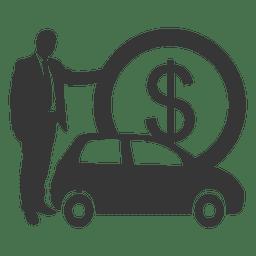 Silueta de coche de empresario