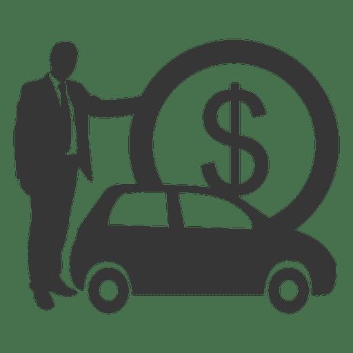 Businessman car silhouette