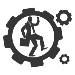 Businessman running cogwheel