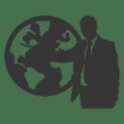 Homem negócios, mostrando, globo
