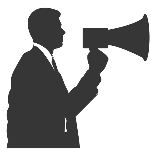 Businessman speaking megaphone Transparent PNG