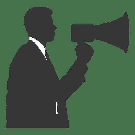 Homem negócios, falando, megafone Transparent PNG