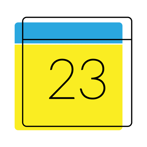 Calendar date icon yellow and blue Transparent PNG