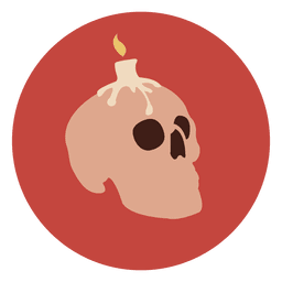 Candle skull circle icon