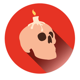 Candle skull round icon