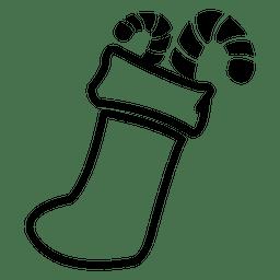 Icono de calcetines de bastones de caramelo.