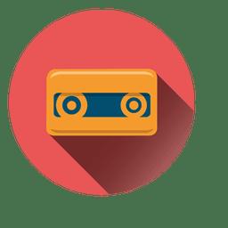 Icono de círculo de cinta de cassette