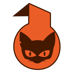 Cat face halloween label