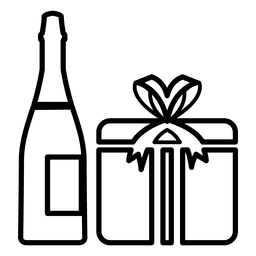 Champagne giftbox icon