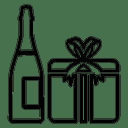 Icono de caja de regalo de Champagne