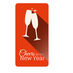 Champagne glasses christmas label