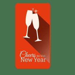 Rótulo de Natal de taças de champanhe