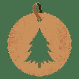 Árvore de Natal tag rodada