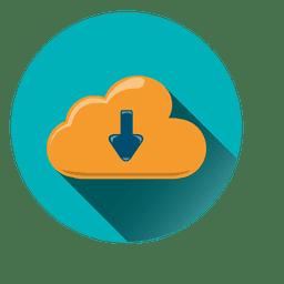 Icono de círculo de almacenamiento en la nube