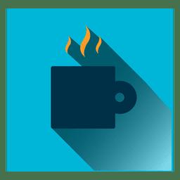 Café, quadrado, ícone
