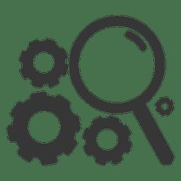 Cogwheels magnifier icon