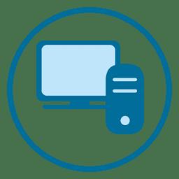Ícone azul do círculo do computador