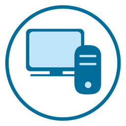 Blaue Computer Kreissymbol