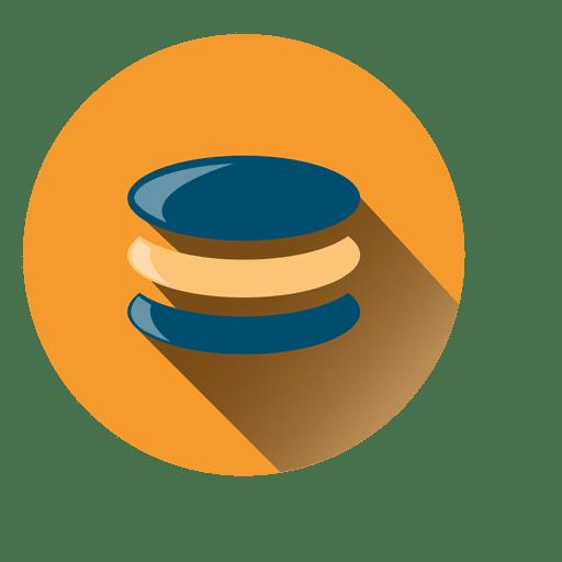 Ícone do círculo do banco de dados com sombra projetada