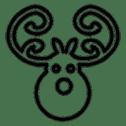 Icono de línea de cabeza de ciervo