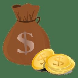 Moedas do saco do dólar