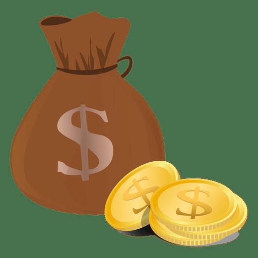 Dollar bag coins - Transparent PNG & SVG vector