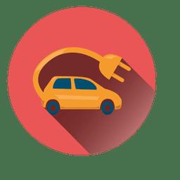 Icono de círculo de coche eléctrico
