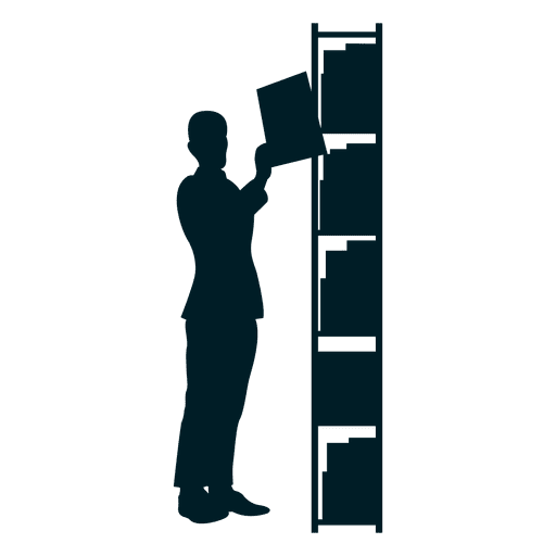 Executive picking file silhouette Transparent PNG