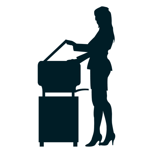 Female executive photocopying silhouette Transparent PNG