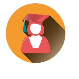 Female graduate round icon
