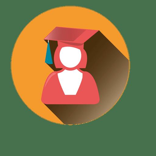 Female graduate round icon