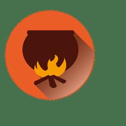 Ícone de halloween de pote de fogo