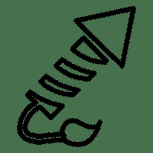 Icono de línea de cohetes de fuegos artificiales