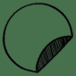 doodle de etiqueta redonda volteado