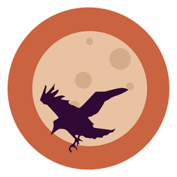 Flying raven circle icon